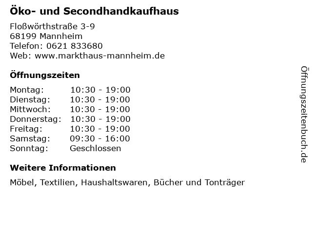 Öko- und Secondhandkaufhaus in Mannheim: Adresse und Öffnungszeiten