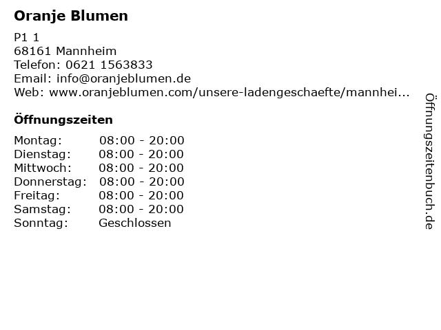 Oranje Blumen in Mannheim: Adresse und Öffnungszeiten