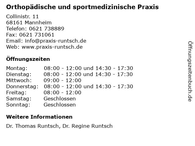 Orthopädische und sportmedizinische Praxis in Mannheim: Adresse und Öffnungszeiten