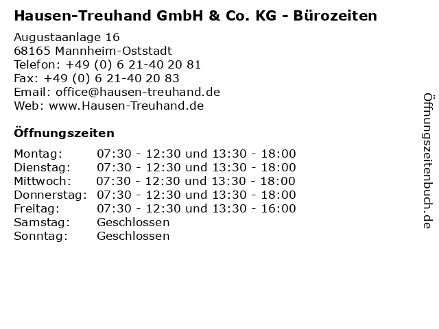 Hausen-Treuhand GmbH & Co. KG - Bürozeiten in Mannheim-Oststadt: Adresse und Öffnungszeiten