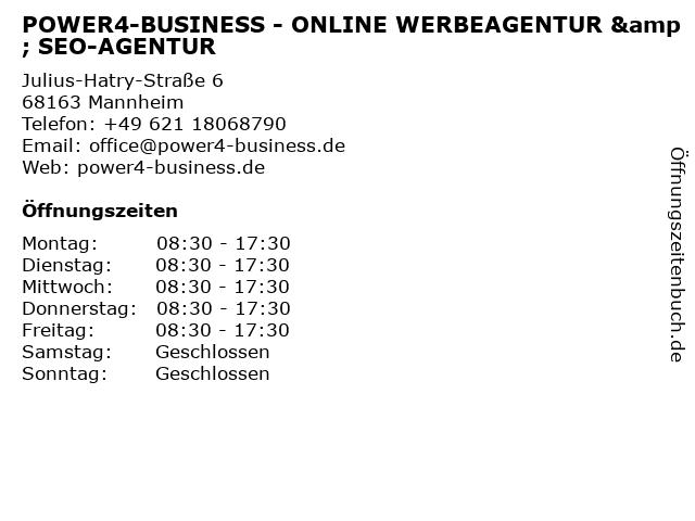 POWER4-BUSINESS - ONLINE WERBEAGENTUR & SEO-AGENTUR in Mannheim: Adresse und Öffnungszeiten