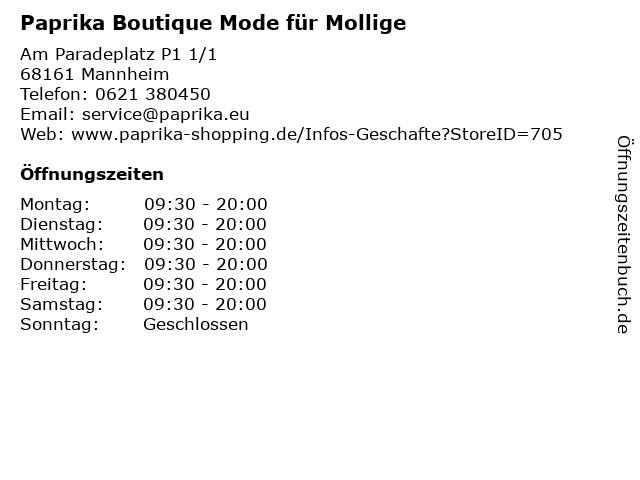 Paprika Boutique Mode für Mollige in Mannheim: Adresse und Öffnungszeiten