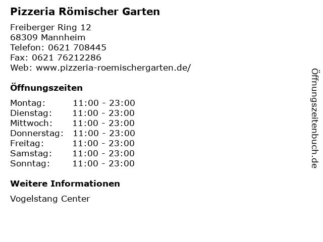 Pizzeria Römischer Garten in Mannheim: Adresse und Öffnungszeiten