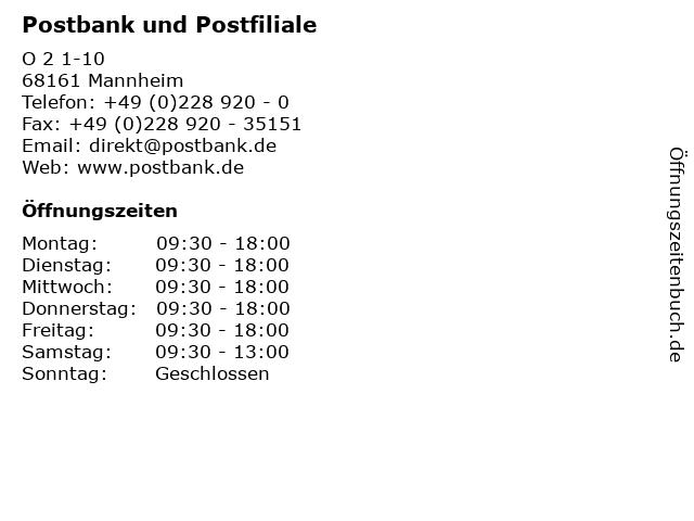 Postbank und Postfiliale in Mannheim: Adresse und Öffnungszeiten