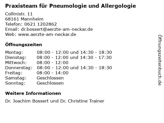 Praxisteam für Pneumologie und Allergologie in Mannheim: Adresse und Öffnungszeiten