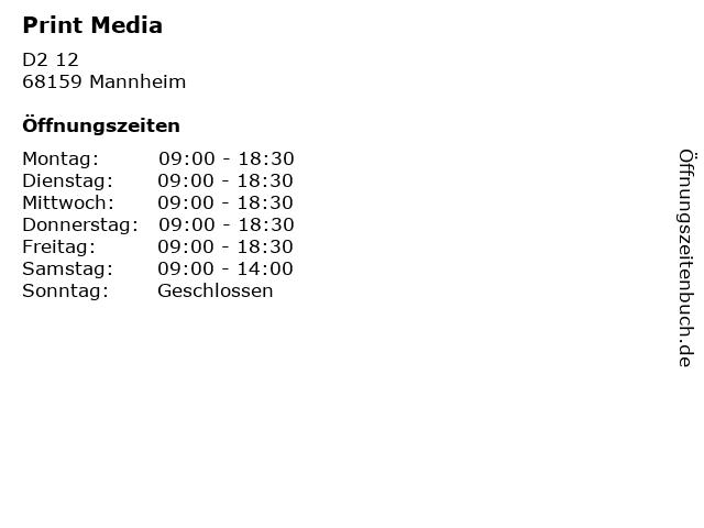 Print Media in Mannheim: Adresse und Öffnungszeiten