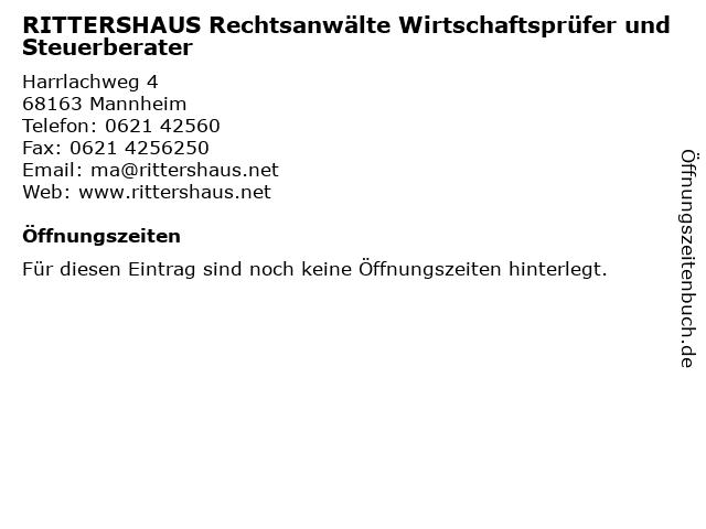 RITTERSHAUS Rechtsanwälte Wirtschaftsprüfer und Steuerberater in Mannheim: Adresse und Öffnungszeiten
