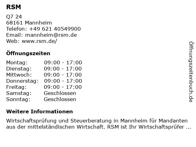 RSM in Mannheim: Adresse und Öffnungszeiten