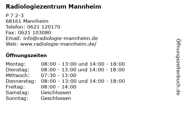 Radiologiezentrum Mannheim in Mannheim: Adresse und Öffnungszeiten