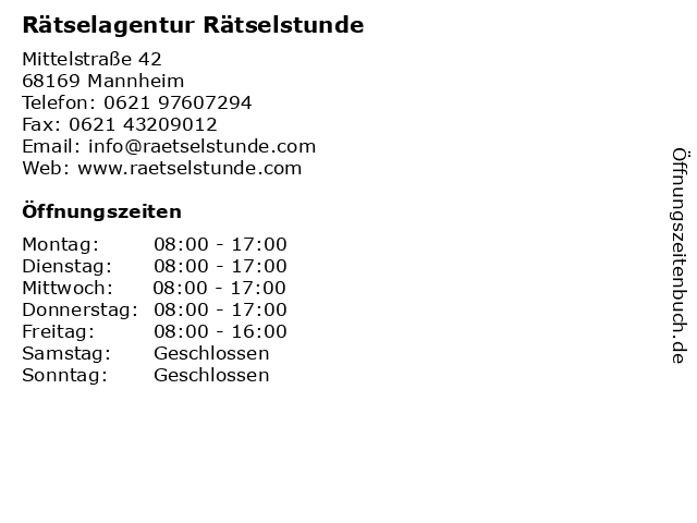 Rätselagentur Rätselstunde in Mannheim: Adresse und Öffnungszeiten
