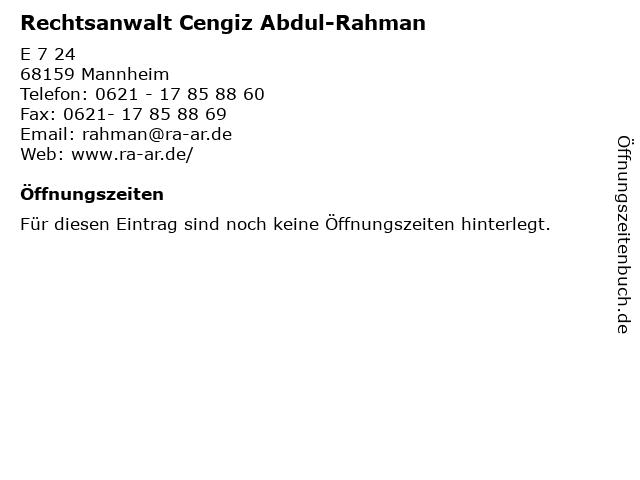 Rechtsanwalt Cengiz Abdul-Rahman in Mannheim: Adresse und Öffnungszeiten