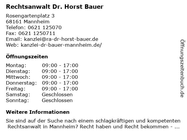 Rechtsanwalt Dr. Horst Bauer in Mannheim: Adresse und Öffnungszeiten