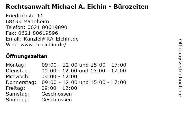 Rechtsanwalt Michael A. Eichin - Bürozeiten in Mannheim: Adresse und Öffnungszeiten