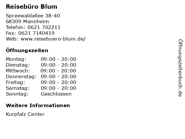 Reisebüro Blum in Mannheim: Adresse und Öffnungszeiten