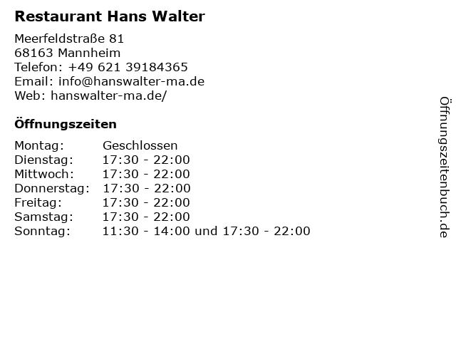 Restaurant Hans Walter in Mannheim: Adresse und Öffnungszeiten