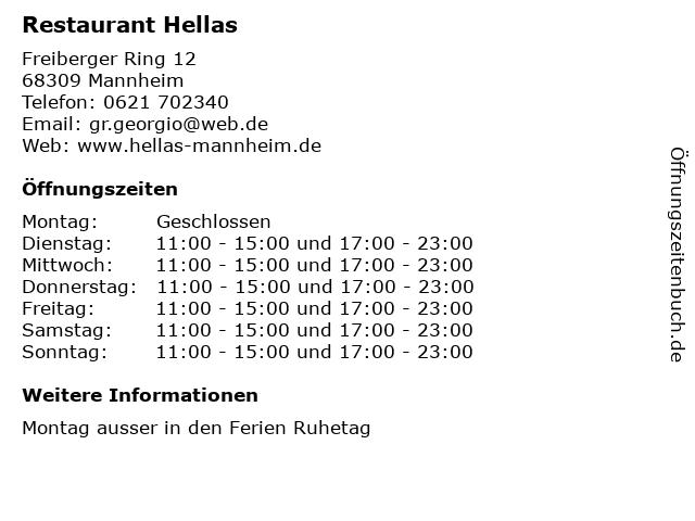 Restaurant Hellas in Mannheim: Adresse und Öffnungszeiten