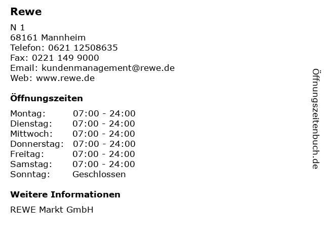 Rewe in Mannheim: Adresse und Öffnungszeiten