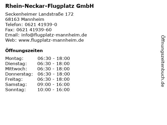 Rhein-Neckar-Flugplatz GmbH in Mannheim: Adresse und Öffnungszeiten
