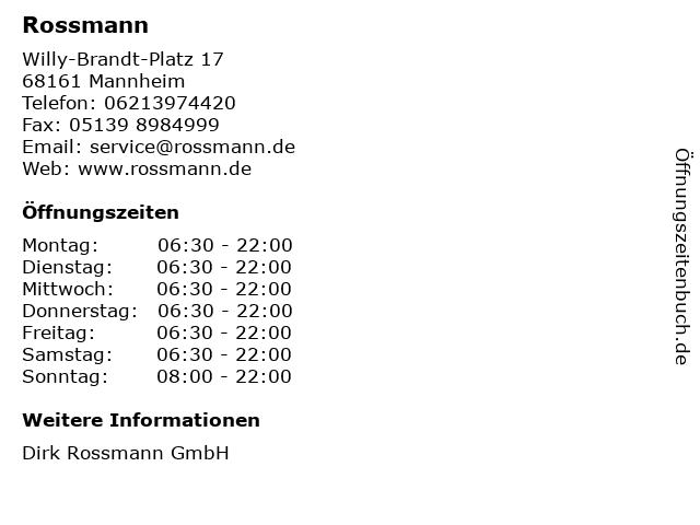 Rossmann in Mannheim: Adresse und Öffnungszeiten
