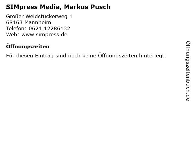 SIMpress Media, Markus Pusch in Mannheim: Adresse und Öffnungszeiten