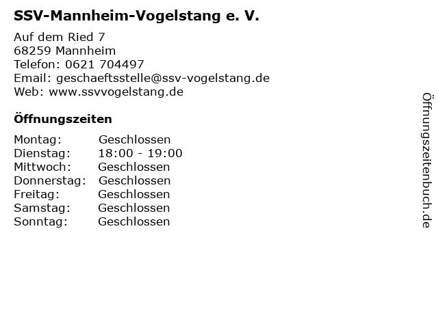 SSV-Mannheim-Vogelstang e. V. in Mannheim: Adresse und Öffnungszeiten