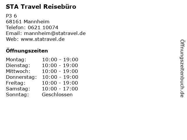 STA Travel Reisebüro in Mannheim: Adresse und Öffnungszeiten