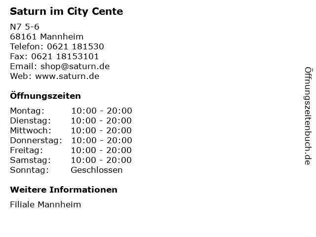 Saturn im City Cente in Mannheim: Adresse und Öffnungszeiten