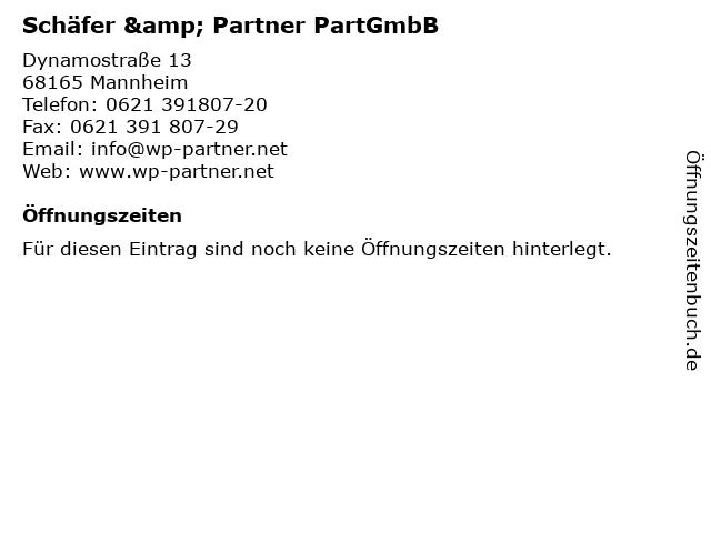 Schäfer & Partner PartGmbB in Mannheim: Adresse und Öffnungszeiten