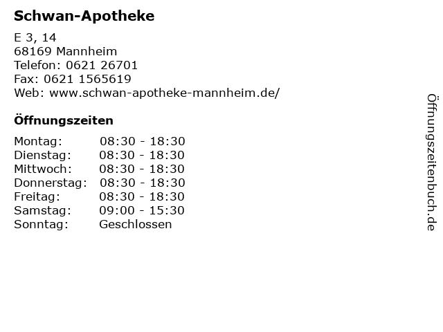 Schwan-Apotheke in Mannheim: Adresse und Öffnungszeiten
