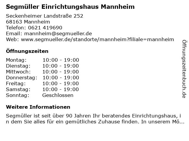 ᐅ öffnungszeiten Segmüller Einrichtungshaus Mannheim