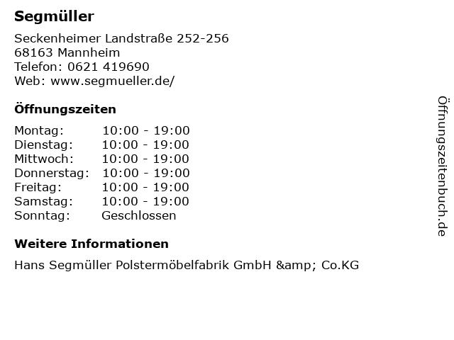 ᐅ öffnungszeiten Segmüller Seckenheimer Landstraße 252 256 In