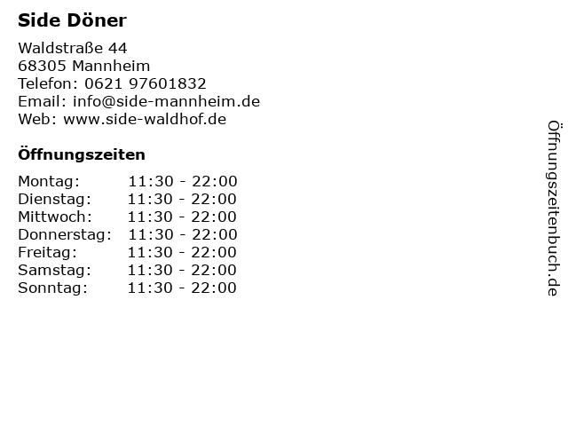 Side Döner in Mannheim: Adresse und Öffnungszeiten