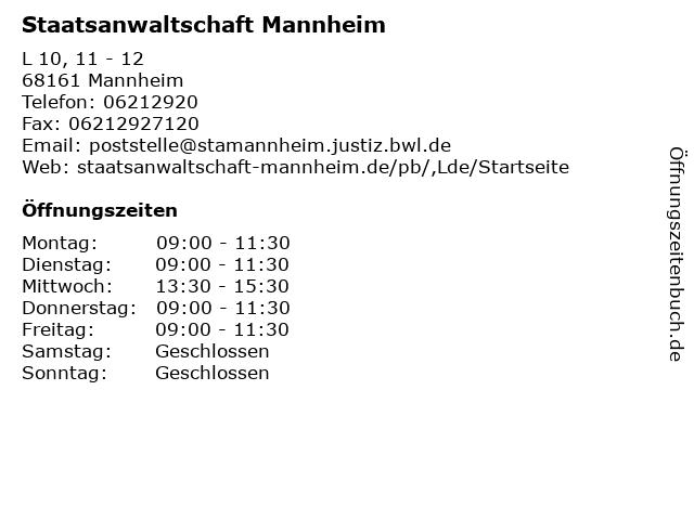 Staatsanwaltschaft Mannheim in Mannheim: Adresse und Öffnungszeiten