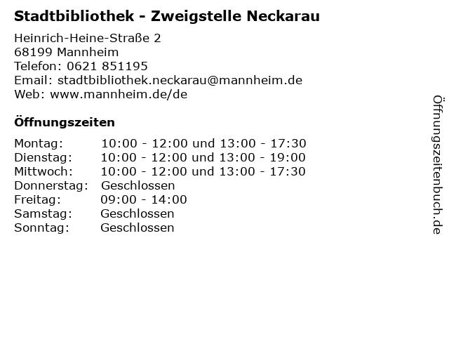 Stadtbibliothek - Zweigstelle Neckarau in Mannheim: Adresse und Öffnungszeiten