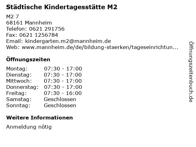 Städtische Kindertagesstätte M2 in Mannheim: Adresse und Öffnungszeiten