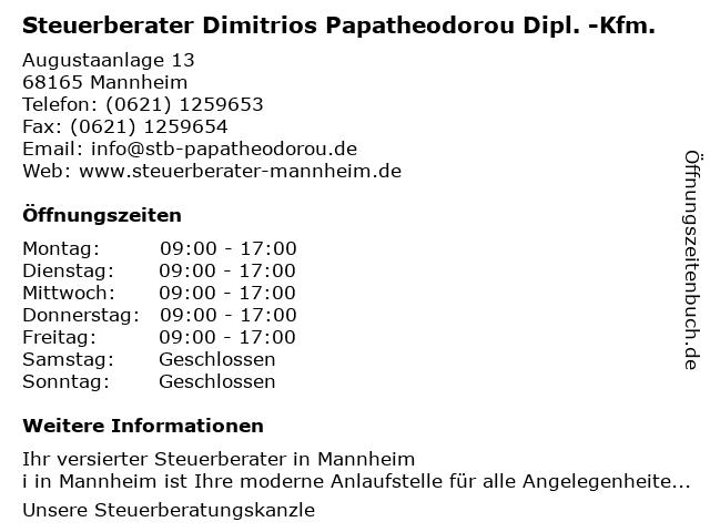 Steuerberater Dimitrios Papatheodorou Dipl. -Kfm. in Mannheim: Adresse und Öffnungszeiten