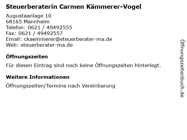 Steuerberaterin Carmen Kämmerer-Vogel in Mannheim: Adresse und Öffnungszeiten