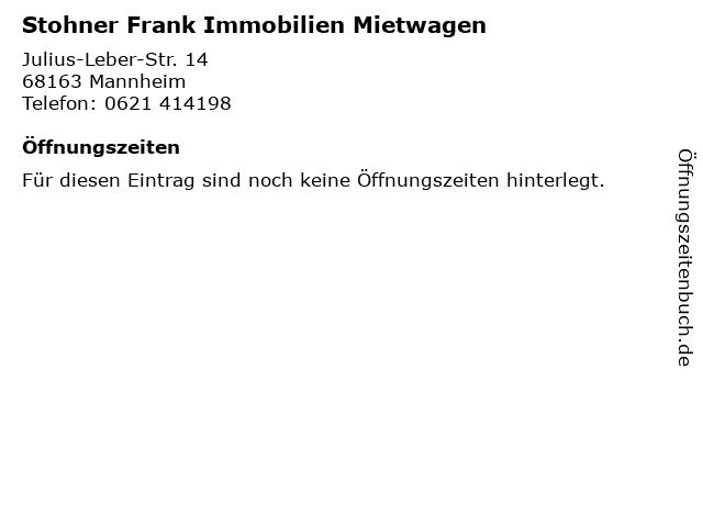 Stohner Frank Immobilien Mietwagen in Mannheim: Adresse und Öffnungszeiten