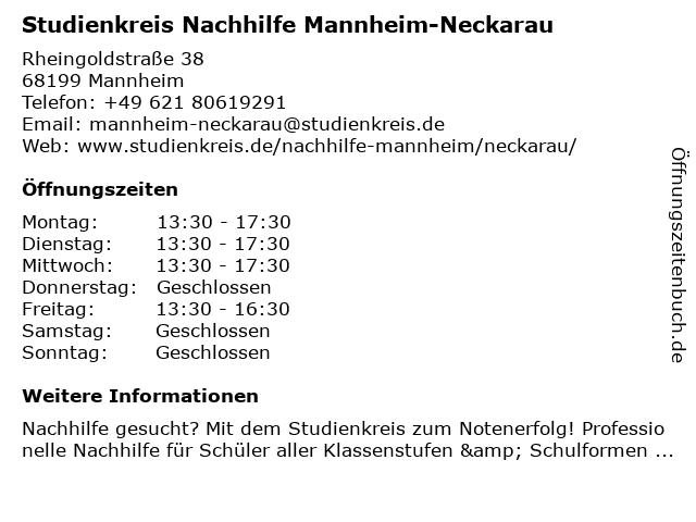 Studienkreis Nachhilfe Mannheim-Neckarau in Mannheim: Adresse und Öffnungszeiten