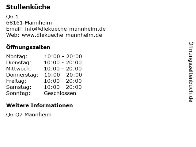 Stullenküche in Mannheim: Adresse und Öffnungszeiten
