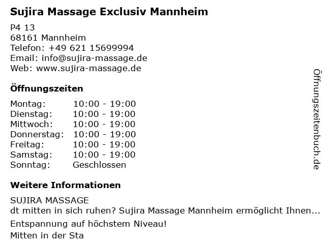 Sujira Massage Exclusiv Mannheim in Mannheim: Adresse und Öffnungszeiten