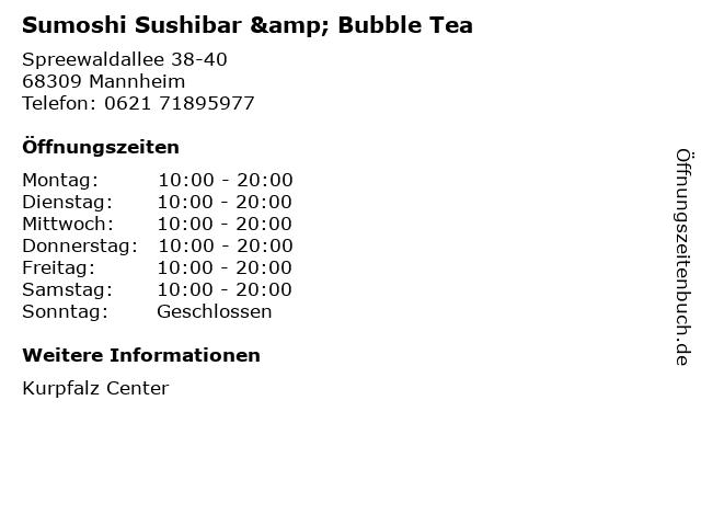 Sumoshi Sushibar & Bubble Tea in Mannheim: Adresse und Öffnungszeiten