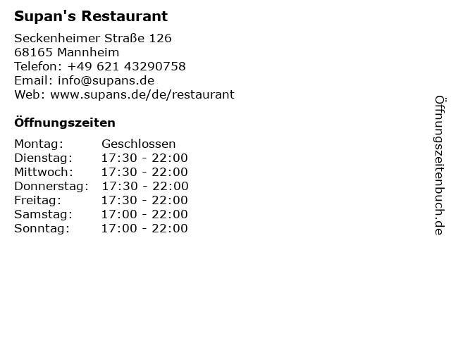 Supan's Restaurant in Mannheim: Adresse und Öffnungszeiten