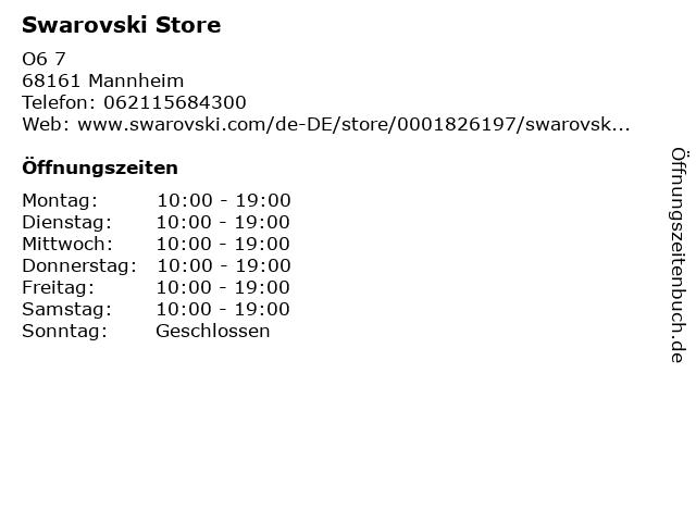Swarovski in Mannheim: Adresse und Öffnungszeiten