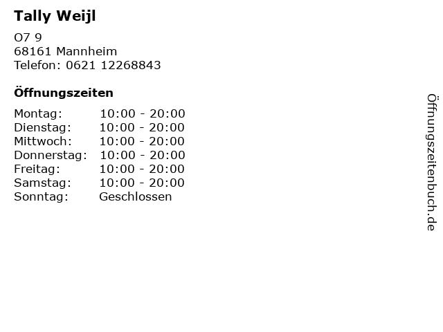 Tally Weijl in Mannheim: Adresse und Öffnungszeiten