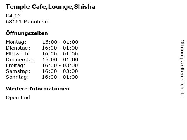 Temple Cafe,Lounge,Shisha in Mannheim: Adresse und Öffnungszeiten