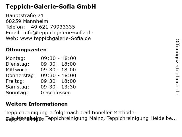 Teppich-Galerie-Sofia GmbH in Mannheim: Adresse und Öffnungszeiten
