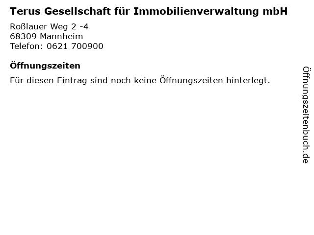 Terus Gesellschaft für Immobilienverwaltung mbH in Mannheim: Adresse und Öffnungszeiten