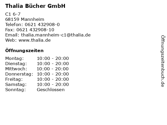 Thalia Bücher GmbH in Mannheim: Adresse und Öffnungszeiten