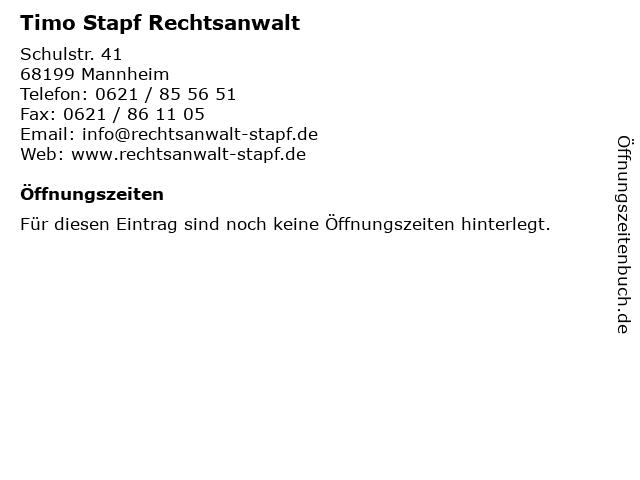 Timo Stapf Rechtsanwalt in Mannheim: Adresse und Öffnungszeiten